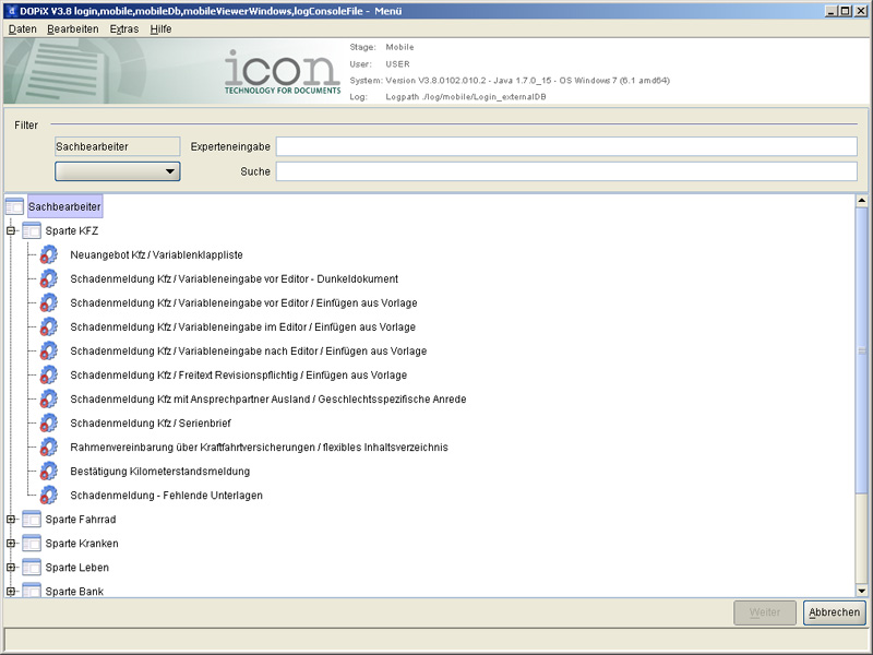 DOPiX/Dialog - FAT Client (Screenshot 2/3)