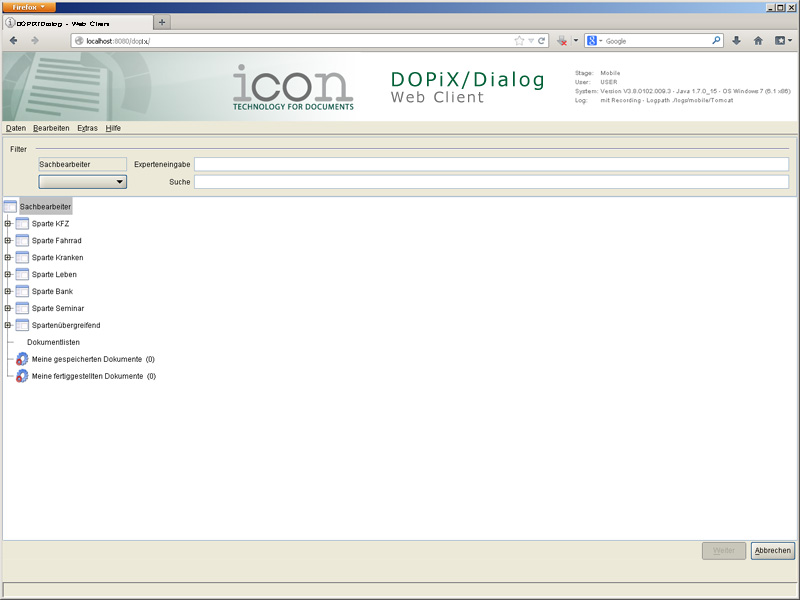 DOPiX/Dialog - Web Client (Screenshot 1/3)