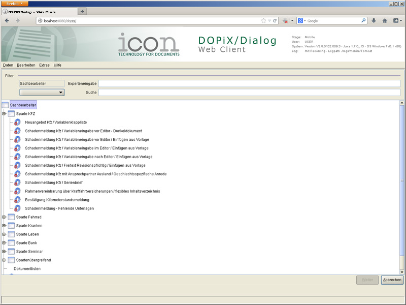 DOPiX/Dialog - Web Client (Screenshot 2/3)