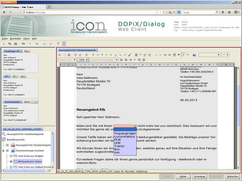 DOPiX/Dialog - Web Client (Screenshot 3/3)